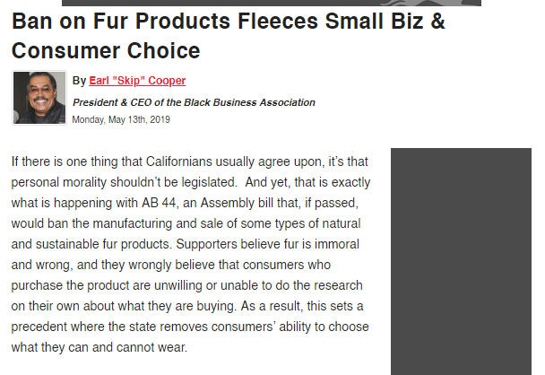 Ban on Fur Products Fleeces Small Biz & Consumer Choice