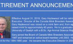 Retirement Announcement - Gary Hazlewood (Executive Director - Canada Mink Breeders Association)
