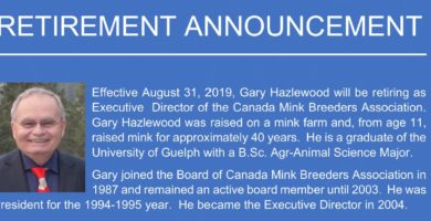 Retirement Announcement - Gary Hazlewood (Executive Director - Canada Mink Breeders Association)