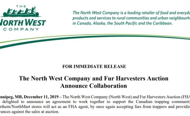 News Release: The North West Company and Fur Harvesters Auction Announce Collaboration